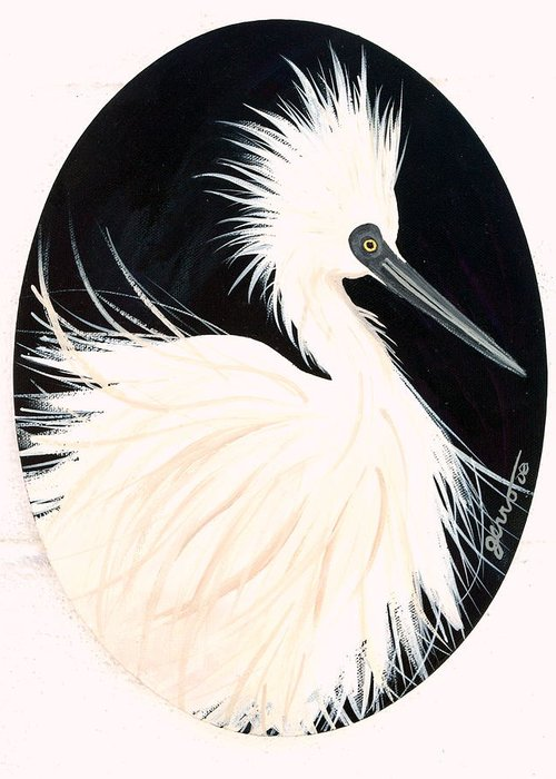 Birds Greeting Card featuring the painting Snowy Egret by Helen Gerro