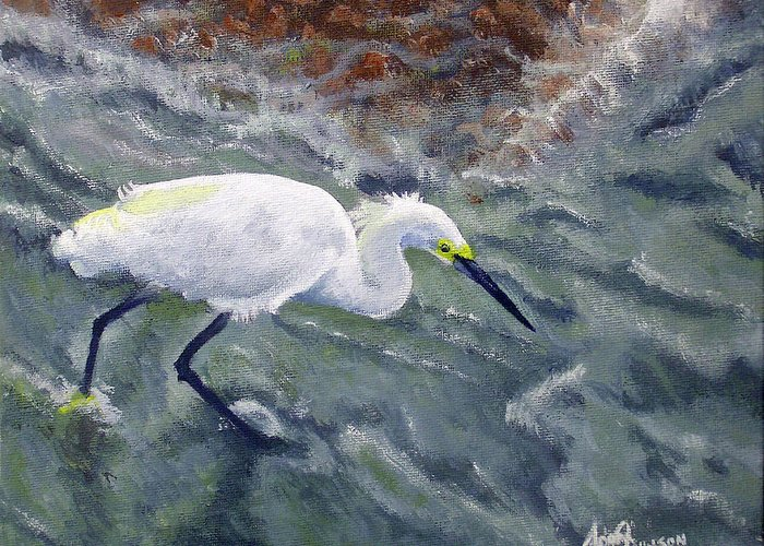 Egret Greeting Card featuring the painting Snowy Egret Near Jetty Rock by Adam Johnson