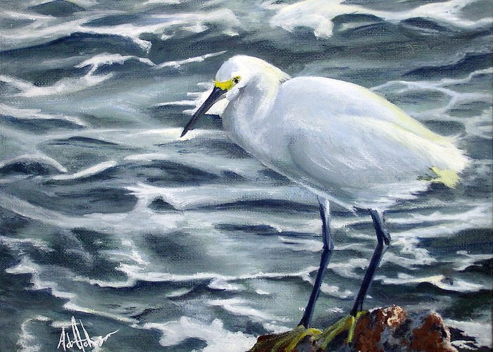 Egret Greeting Card featuring the painting Snowy Egret On Jetty Rock by Adam Johnson