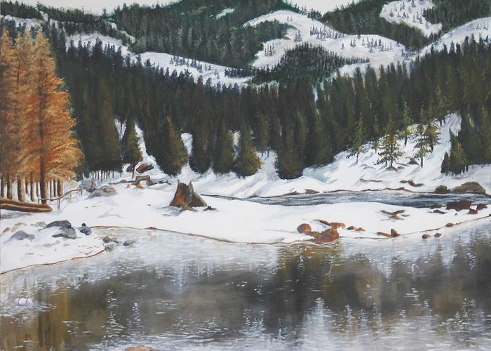 Snow Greeting Card featuring the painting Snowy Lake by Travis Day