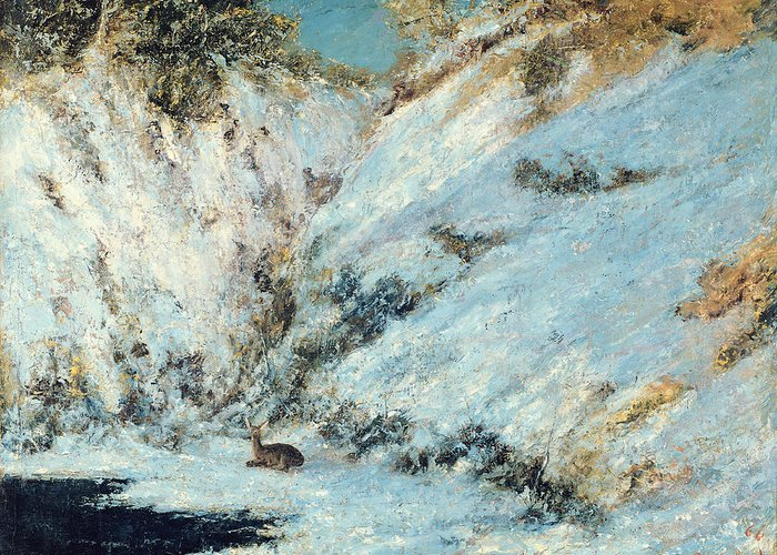 Snowy Greeting Card featuring the painting Snowy Landscape by Gustave Courbet