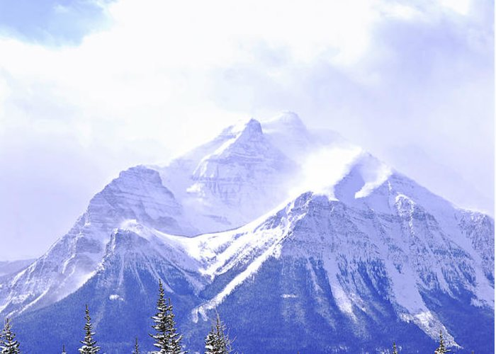 Mountain Greeting Card featuring the photograph Snowy Mountain by Elena Elisseeva