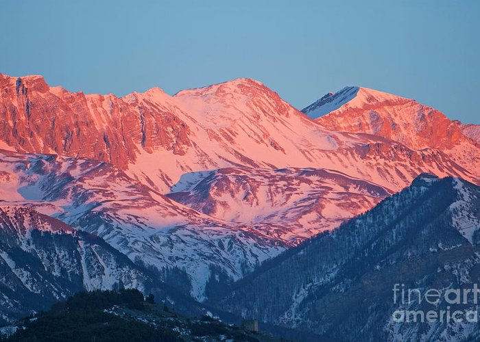 Alpenglow Greeting Card featuring the photograph Snowy Mountain Range With A Rosy Hue At Sunset by Sami Sarkis