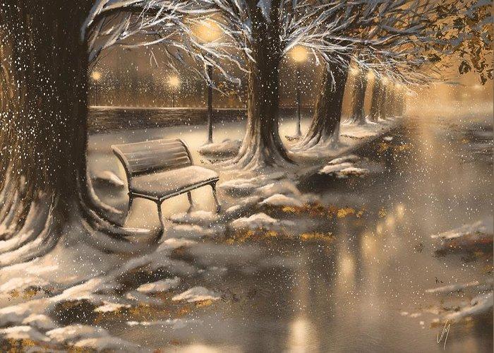 Snowy Night Paintings Greeting Cards