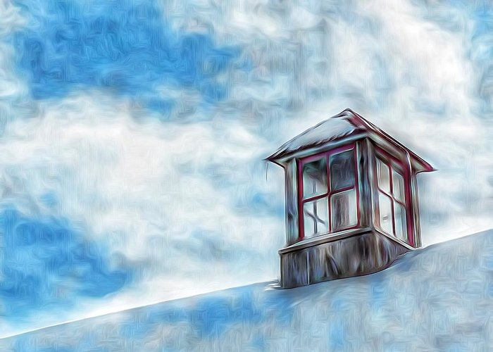 Snowy Rooftop Greeting Card featuring the photograph Snowy Rooftop by Tom Kiebzak