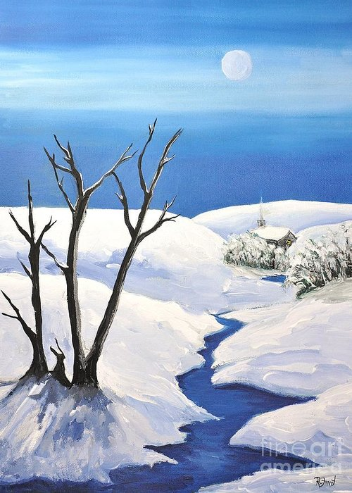 Snowy Scene Greeting Card featuring the painting Snowy Scene by Reb Frost