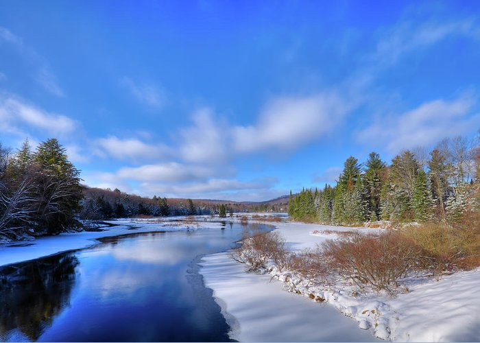 Landscapes Greeting Card featuring the photograph Snowy Shore Of The Moose River by David Patterson