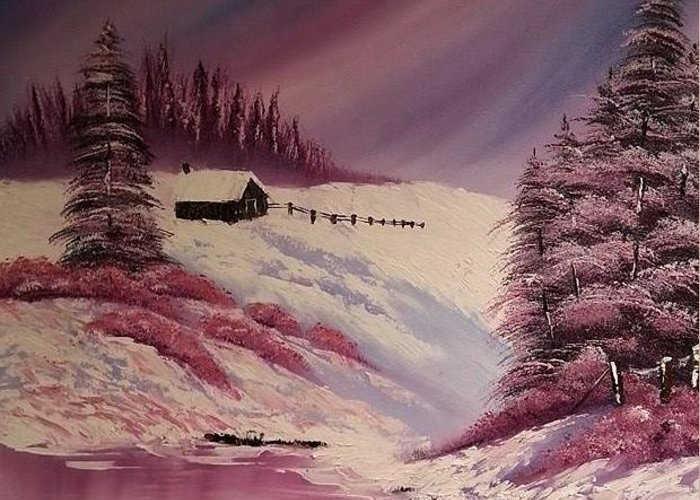 Landscape Greeting Card featuring the painting Snowy Summer by Nadine Westerveld
