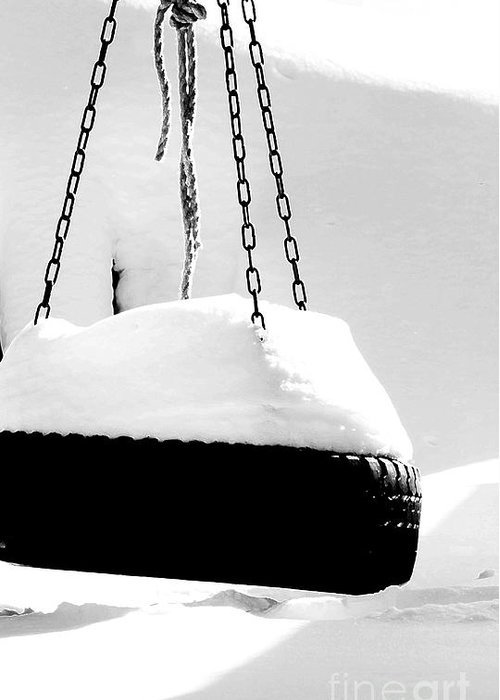 Snow Greeting Card featuring the photograph Snowy Tire Swing Black And White by Robin Lynne Schwind