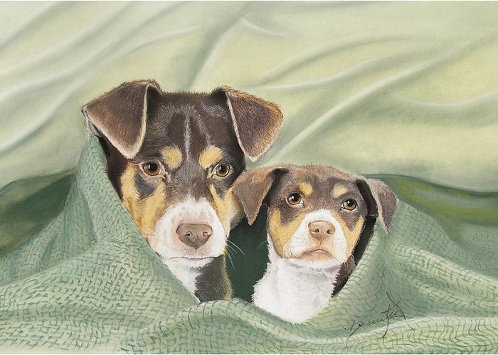 Dogs Greeting Card featuring the pastel Snuggle Buddies by Barbara Keel