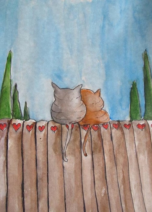 Kittens Greeting Card featuring the painting Snuggle Close My Sweet Valentine by Trilby Cole