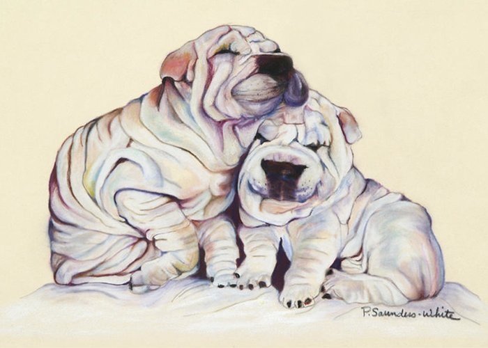 Dog Painting Greeting Card featuring the pastel Snuggles by Pat Saunders-White