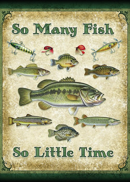 Jon Q Wright Greeting Card featuring the painting So Many Fish Sign by JQ Licensing