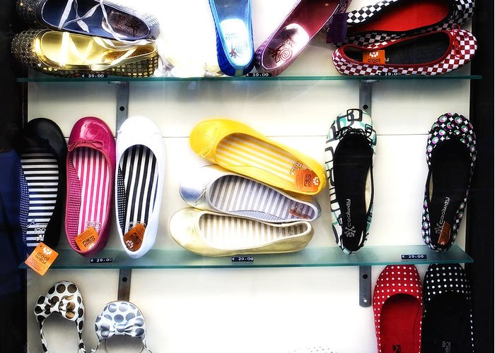Shoes Greeting Card featuring the photograph So Many Shoes... by Marilyn Hunt