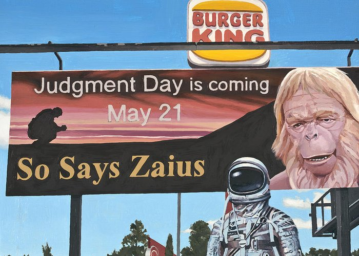 Astronaut Greeting Card featuring the painting So Says Zaius by Scott Listfield