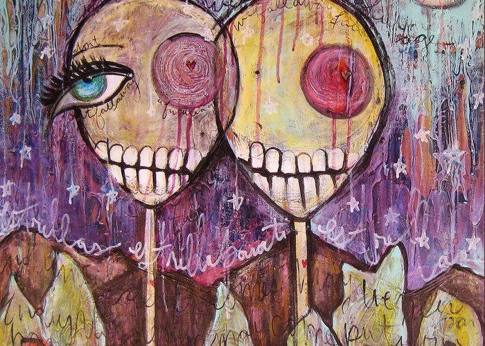 Skulls Greeting Card featuring the painting So This Is The New Year Estrellas And All by Laurie Maves ART