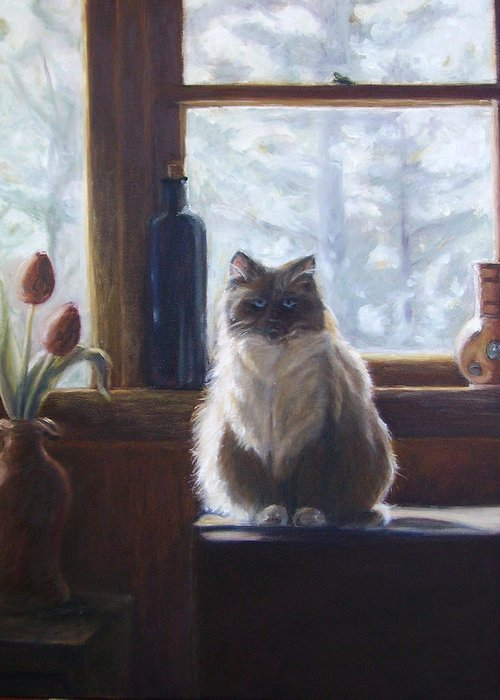 Pets Greeting Card featuring the painting Soaking up the Sun by Tahirih Goffic