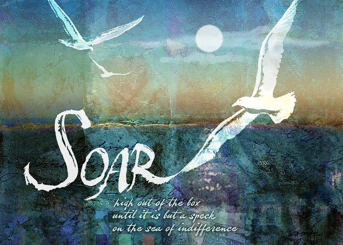 Seagull Greeting Card featuring the digital art Soar by Evie Cook