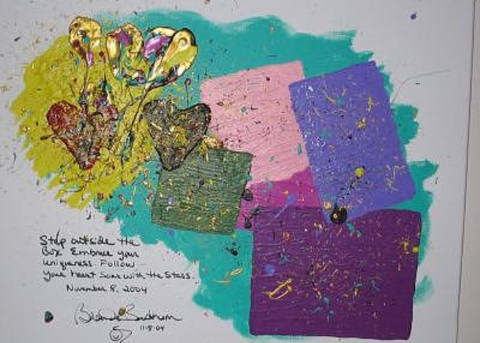Original Abstract Masterpiece Greeting Card featuring the painting Soar With The Stars by Brenda Basham Dothage