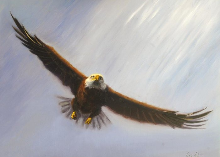 Oil Greeting Card featuring the painting Soaring Eagle by Greg Neal