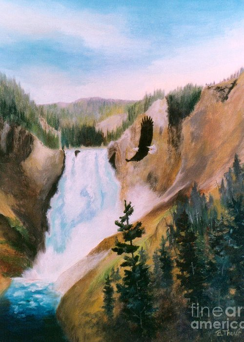 Waterfall Greeting Card featuring the painting Soaring High II by Brenda Thour