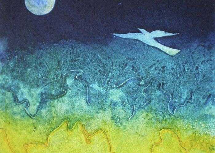 Collagraph Print Greeting Card featuring the mixed media Soaring Into The Blue by Susanne Clark