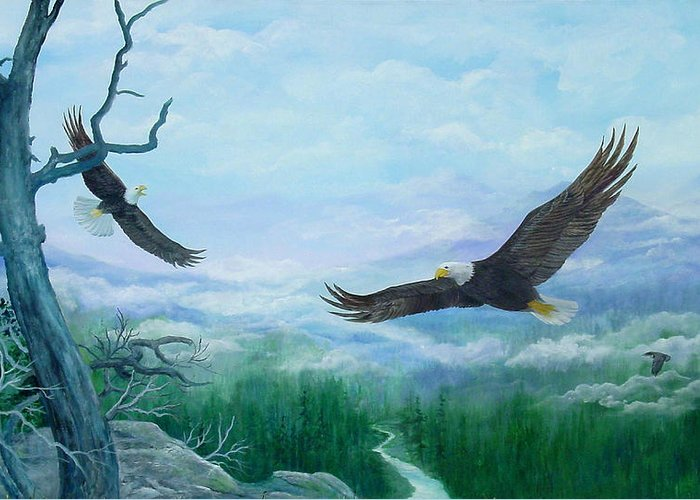 Eagles;birds;river Valley;mountains;sky; Greeting Card featuring the painting Soaring by Lois Mountz