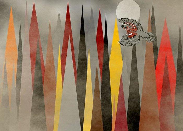 Swallow Art Greeting Card featuring the mixed media Soaring Swallow by Kathleen Sartoris