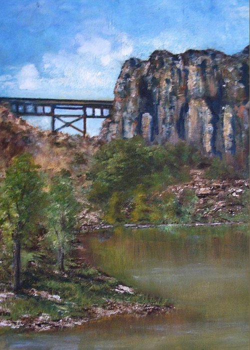 Landscape Greeting Card featuring the painting S.o.b Caynon by Darla Joy Johnson
