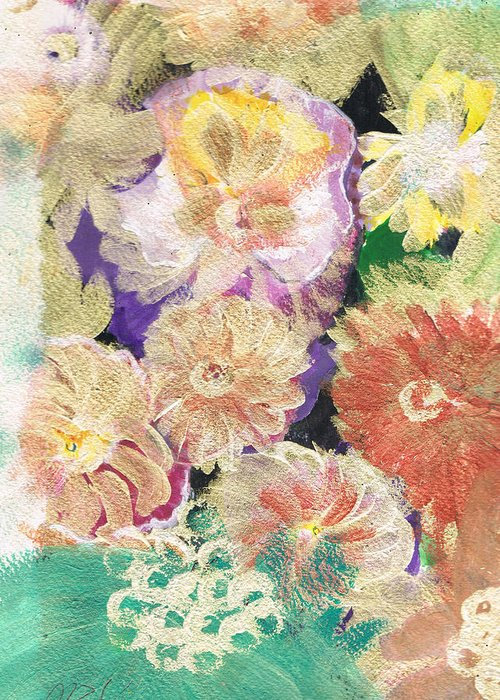 Flores Greeting Card featuring the painting Soft And Gentle Expressions by Anne-Elizabeth Whiteway
