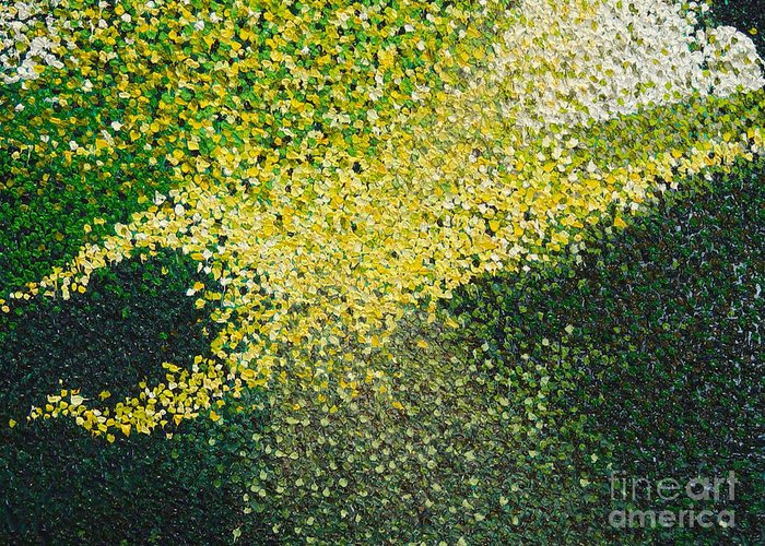 Abstract Greeting Card featuring the painting Soft Green Light by Dean Triolo