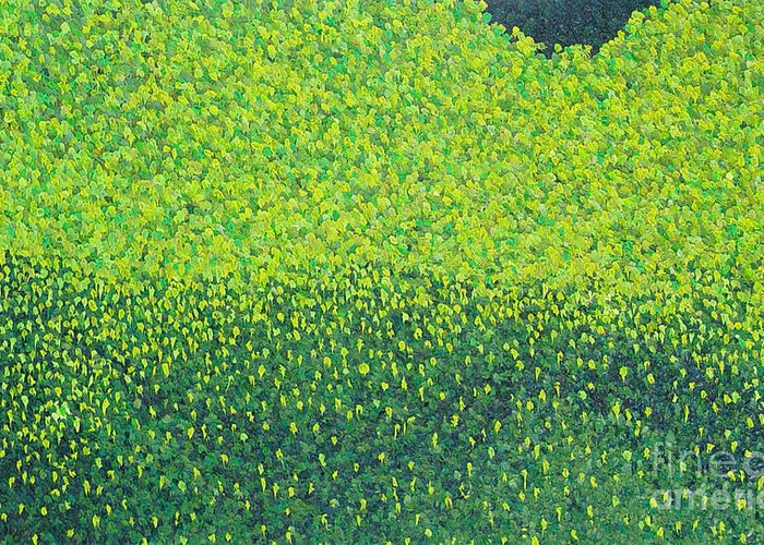 Abstract Greeting Card featuring the painting Soft Green Wet Trees by Dean Triolo