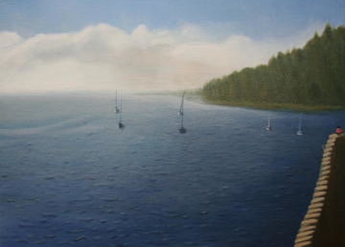 Seascape Greeting Card featuring the painting Soft Morning Waters by Stephen Degan