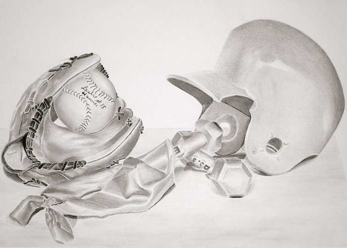 Helmet Greeting Card featuring the drawing Softball by Leslie Ann Hammer