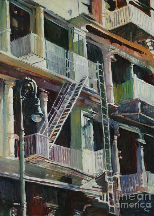 Urban Greeting Card featuring the painting Soho Fire Escapes by Patti Mollica