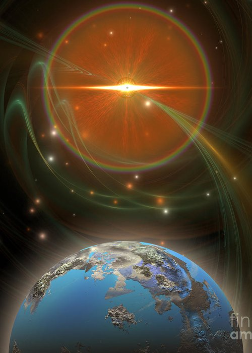 Science Fiction Greeting Card featuring the painting Solar Message by Corey Ford