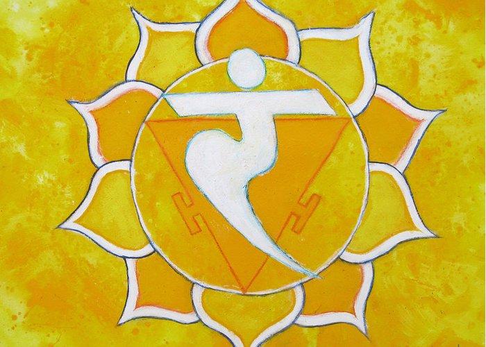 Solar Plexus Chakra Greeting Card featuring the painting Solar Plexus Chakra - Manipura by Mary Pumpelly-Knowland
