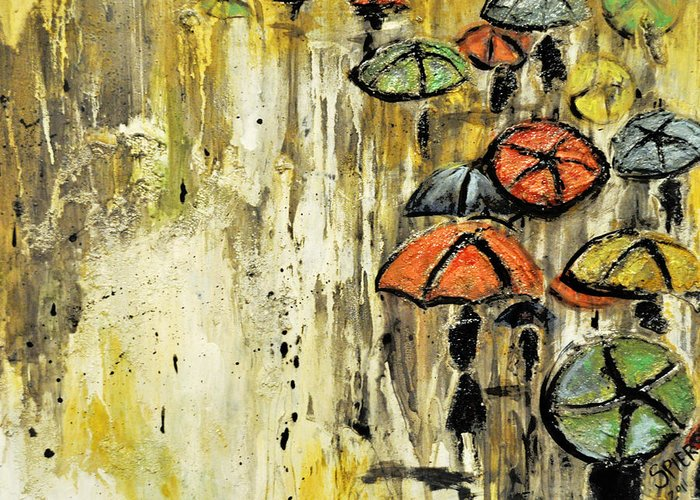 Umbrella Greeting Card featuring the painting Sold Under The Weather by Amanda Sanford