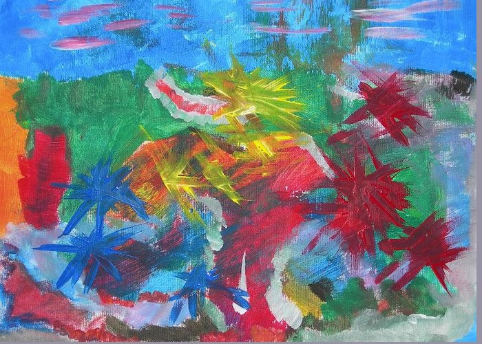 Pop Abstract Greeting Card featuring the painting Soldato In Battaglia by Paolo Santo