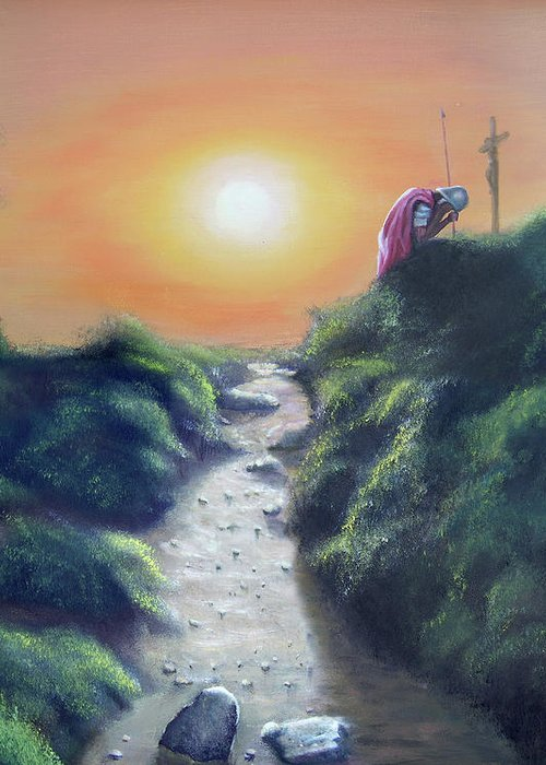 Cross Greeting Card featuring the painting Soldier At The Cross by Larry Cole