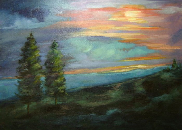 Landscape Greeting Card featuring the painting Soledad by Ginger Concepcion
