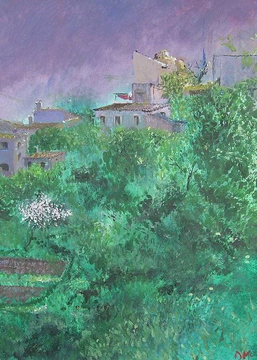 Impressionist Greeting Card featuring the painting Solitary Almond Tree In Blossom Mallorcan Valley by Lizzy Forrester