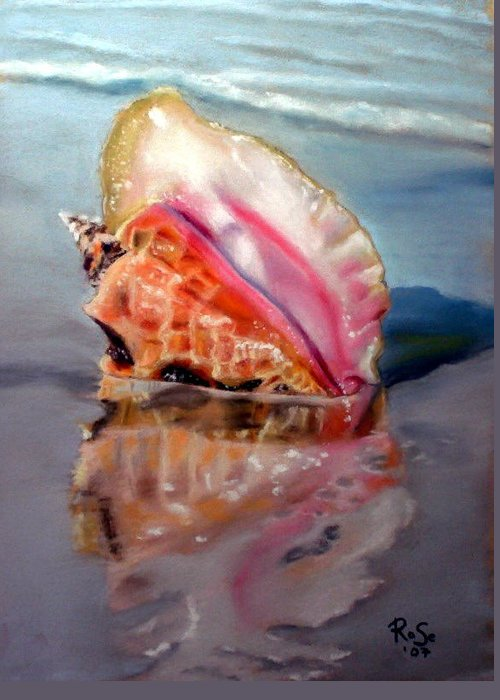 Seashell Greeting Card featuring the painting Solitary Conch by Rose Sciberras