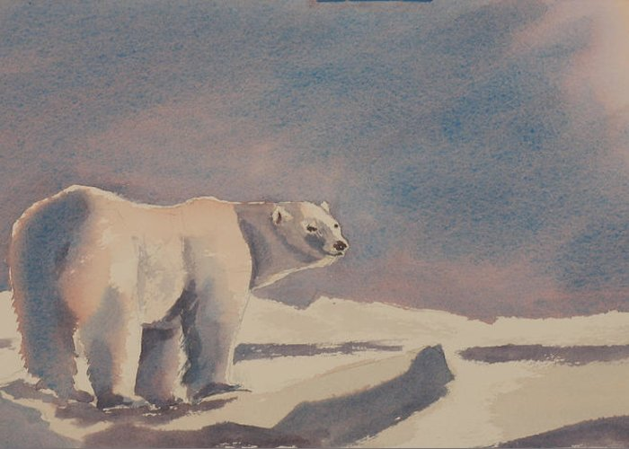 Polar Bear Greeting Card featuring the painting Solitary Polar Bear by Debbie Homewood