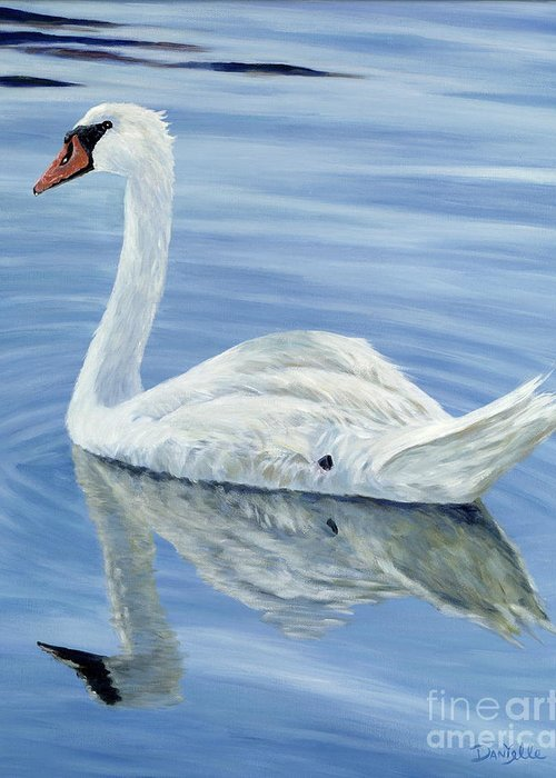 Swan Greeting Card featuring the painting Solitary Swan by Danielle Perry