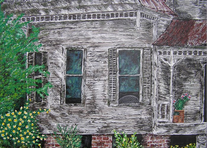 House Greeting Card featuring the painting Solitude Awaits by Ricklene Wren