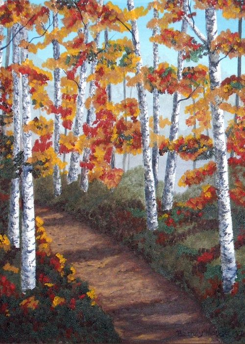 Fall Greeting Card featuring the painting Solitude by Brandy House