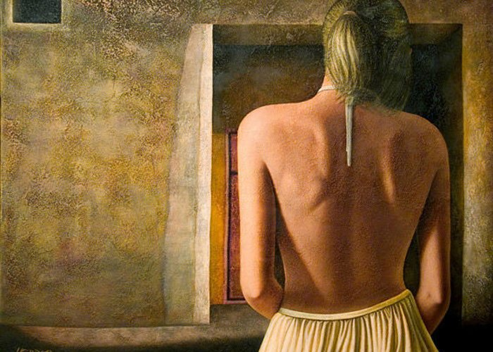 Nude Greeting Card featuring the painting Solitude by Horacio Cardozo