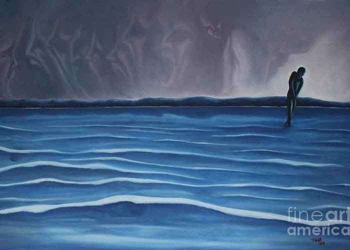 Tmad Greeting Card featuring the painting Solitude by Michael TMAD Finney