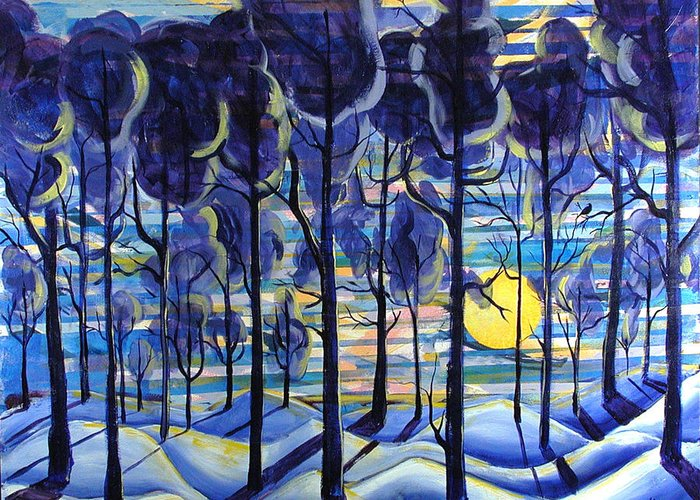 Landscape Greeting Card featuring the painting Solitude by Rollin Kocsis